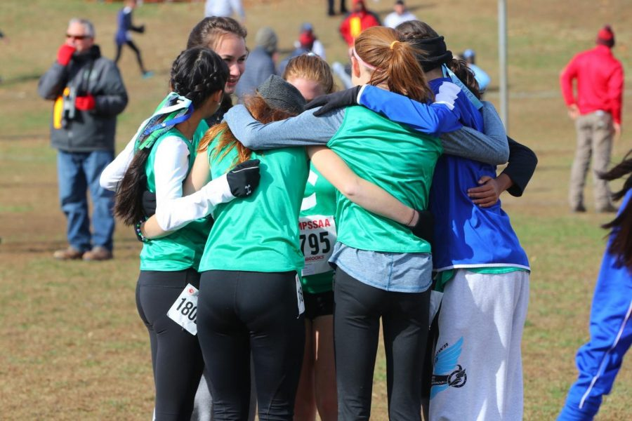 Runners on WCHS varsity cross country engage in a team huddle up before a race. They whisper words of encouragement and hype up their fellow Dawgs.