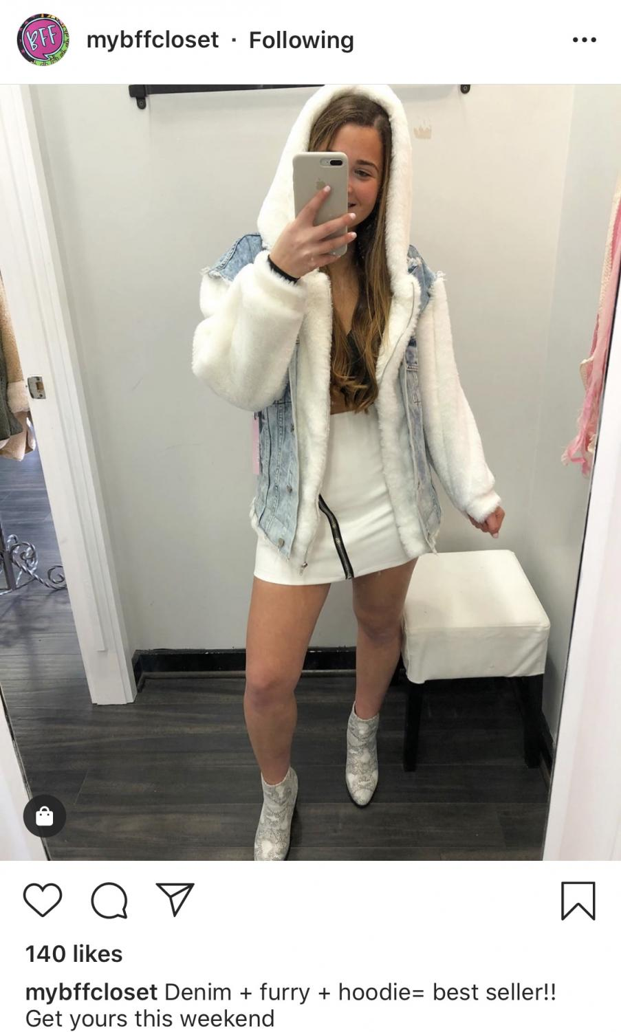 One of Sarah Genn's responsibilies as a retail workers at My Best Friend's Closet is to model the clothing for Instagram. This was a post from Nov. 3 promotting some of the store's newest winter styles.
