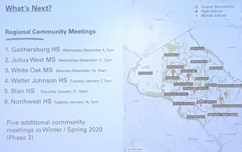 At the Nov. 18 public hearing at Calver Educational Services Center, the Board of Education gave a short presentation. This included a reminder of future regional community meetings that anyone is allowed to attend.