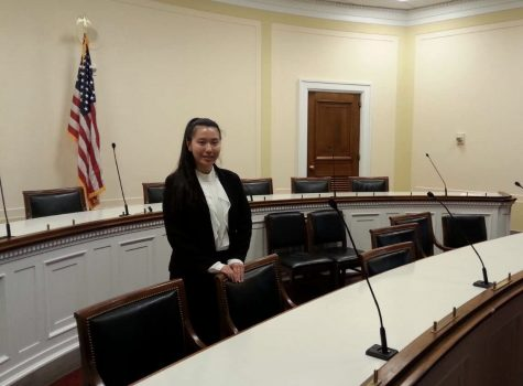 Ellen Zhang waits patiently to speak with congressmen Jamie Raskin regarding gun control in order to get his take on the issue.