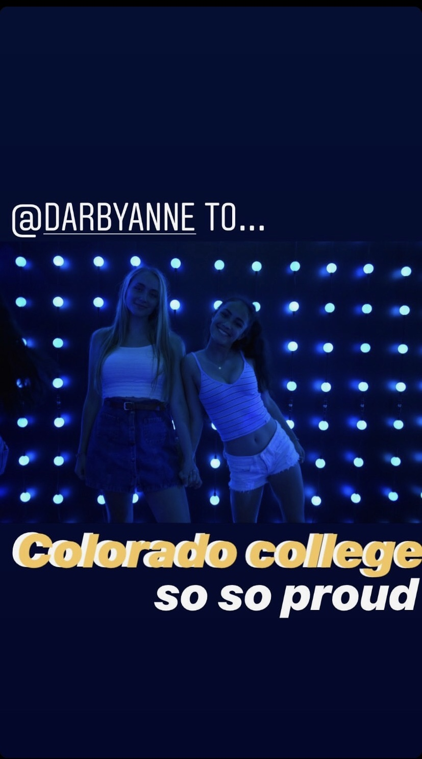 Senior Emma Chen's Instagram story congratulates her friend after getting into Colorado College with the words
