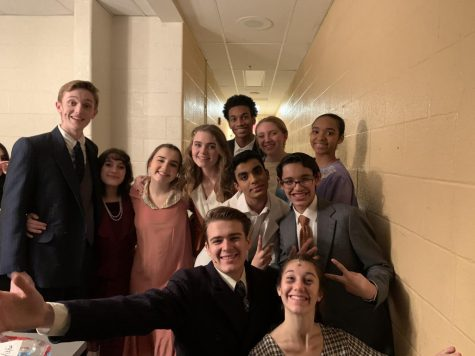 "The cast of ""Radium Girls""  celebrates after the opening night of the show.  The play debuted on Feb. 14 and was performed five times."