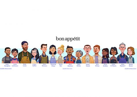 A fanart drawing lays out all of the members of the Bon Appétit test kitchen staff. This mix of personalities and editors appear in and produce the videos that the Bon Appétit Youtube channel features.