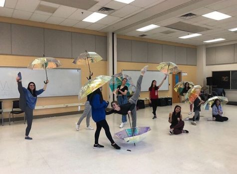 The dance ensemble for the Blast 31: Spectrum performance of Kacey Musgraves' Rainbow rehearse their dance choreographed by senior Michael Castelli and junior Sydney Rubin.