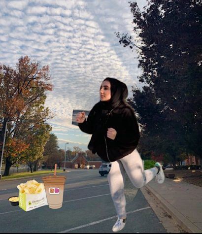 "Senior Fatima Yazdi poses on her ""Senior Skip Day"" with food purchased at the local shopping center. Because of the cancellation of in-person school, these trips no longer occur."