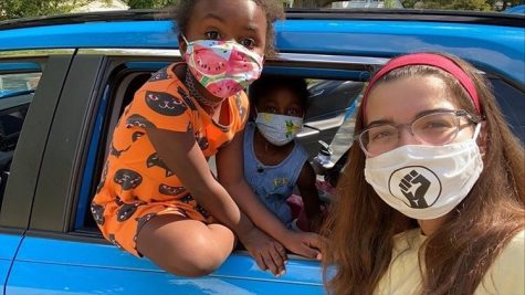 Carolina Noguera (far right) with her cousins Elena and Sonia Hupmann all wearing Solidarity Masks. For more information, go to their Instagram @solidarity.masks.