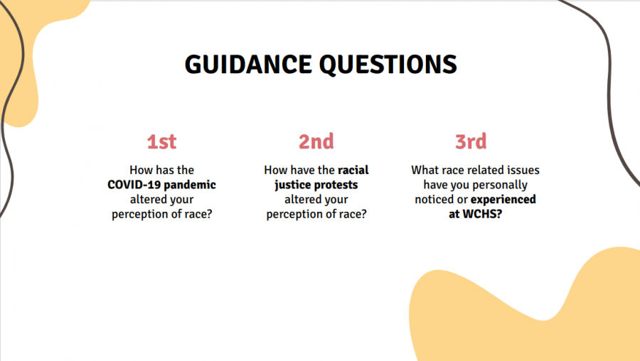 The three guidance questions that students discussed during the first day of the virtual study circle. The questions allowed students the opportunity to discuss current events, including COVID-19 and the protests about race in America.