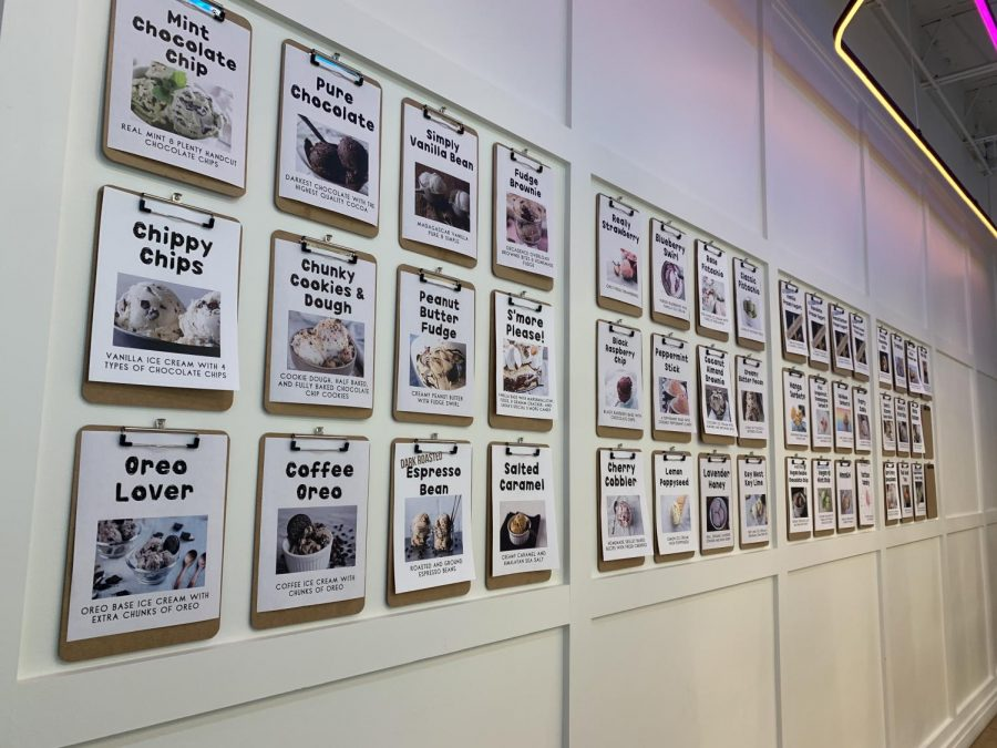 On the inside of Sarah's Handmade Ice Cream's Wildwood shopping center location are photographs and descriptions of their flavors lining the entire wall.