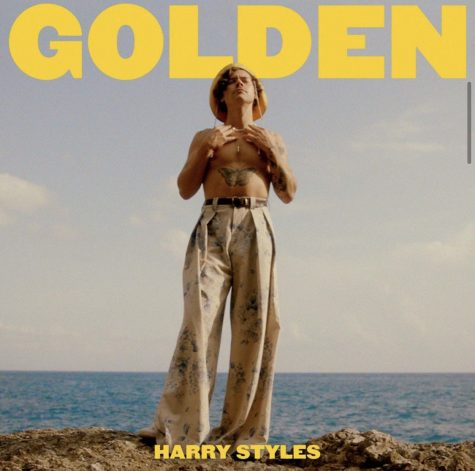 "Singer Harry Styles soaks up the sun, wearing nothing but a pair of trousers and a vintage yellow hat, on the Amalfi Coast of Italy. He poses with his eyes closed, standing tall on a rock along the shoreline, during the shooting of the music video for his single ""Golden""."