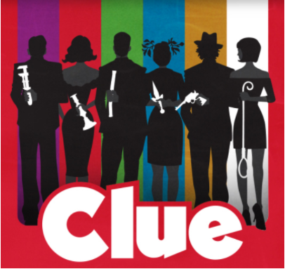 "Based on the popular board game, the WCHS rendition of ""Clue""will be performed through zoom. The play is a murder mystery with six suspects, as displayed in the flyer."