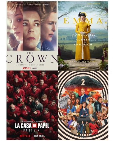 """The Crown,"" ""Emma,"" ""Money Heist"" and ""Umbrella Academy"" are four popular shows and movies that were released in 2020."