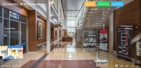 YouVisit offers students the ability to virtually tour campuses and buildings of colleges they want, like the local University of Maryland College Park.