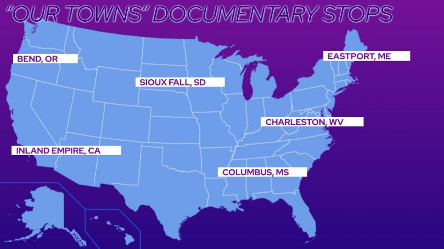 "A map of where the Follows traveled during their documentary , ""Our Towns."" The trip took them from the west coast of California, to the Atlantic Ocean"