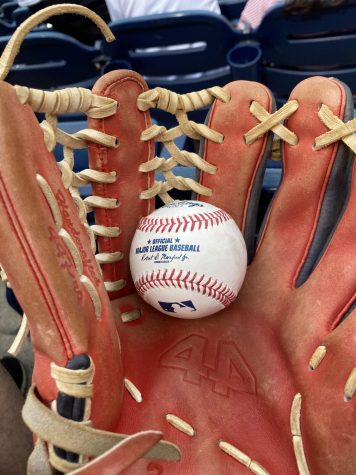 Although many staple ballpark traditions arent taking place anymore due to COVID, fans can still get game balls from players. Here, Max Brodsky shows off one he recieved from the Nationals game on May 22nd.